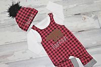Bear Woodland Buffalo Plaid Personalized Baby Boy Romper