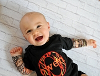Persoanlized Baby Boy Tattoo Sleeve / Flames  Bodysuit  or Tee