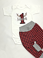 Personalized Baby Boys First Birthday Outfit / Buffalo Plaid Red and Black