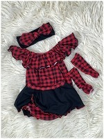 Buffalo Plaid Baby Girl Romper Bubble Romper