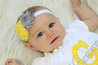 Baby Girl Headband / Shabby Chic Flowers