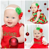 Personalized Christmas Outfit Reversible Pinafore / Christmas Dots & Red