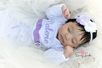 Personalized Baby Girl Layette Gown / Shabby Chic Ruffles  Lavender