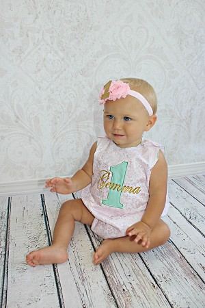 First Birthday Girl Romper  Lace / Gold / Teal