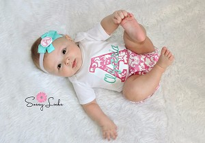 Personalized Baby Girl Pink Damask Outfit   Pink / Teal
