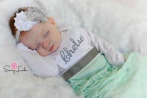 Personalized Baby Girl Layette Gown / Shabby Chic Ruffles Gray and Mint