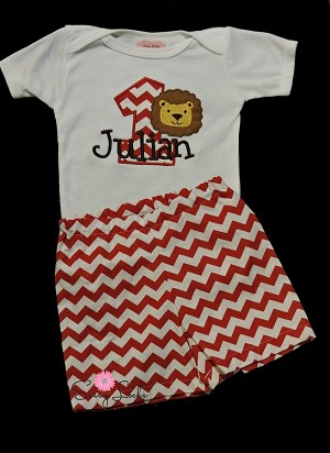 Lion Personalized Baby Boy First Birthday Outfit