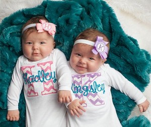 6c812e8b0ac Twin Girls Take Home Outfit Chevron Baby Monogram Layette Gowns ...