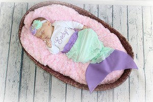 Personalized Baby Girl Mermaid Outfit with Mermaid Tail