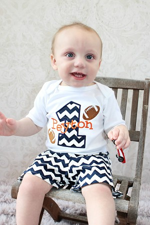 ae66c7e78ddc Personalized Baby Boys First Birthday Outfit   Football