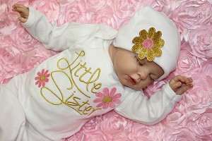 Little Sister Pink & Gold Flower Gown