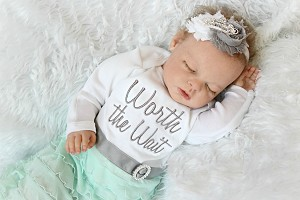 Worth The Wait Gown  / Shabby Chic Ruffles Gray and Mint